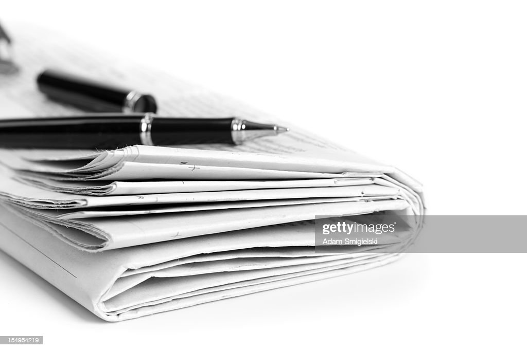 Zeitung mit ballpen : Stock-Foto