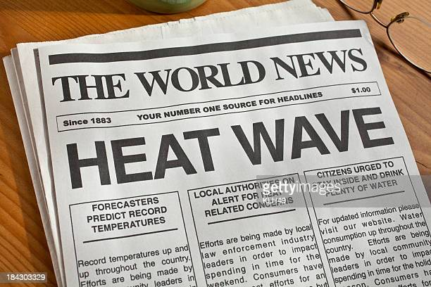 A newspaper with heat wave headlines in bold