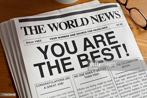 A newspaper with the headline 'You Are the Best