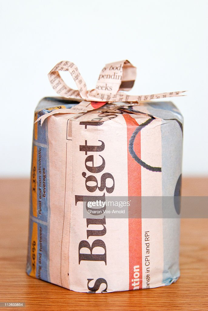 Newspaper Wrapped Gift : Stock Photo