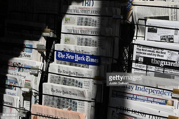 Newspapers are displayed at a newsstand October 26 2009 in San Francisco California A report by the Audit Bureau of Circulations reveals that the...