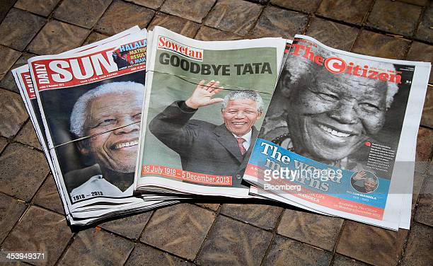 Newspapers including the Daily Sun Sowetan and The Citizen commemorate the life of the former South African President Nelson Mandela following the...