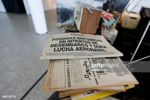 Newspapers of June 1982 with headlines related to the Malvinas War are seen at Malvinas e Islas del Atlántico Sur Museum on March 28 2015 in Buenos...