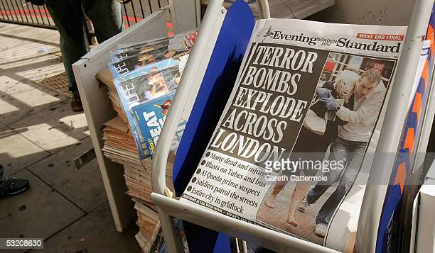 Newspapers on sale at Edgware Road underground station show images from the bomb blasts which ripped across London's underground network on July 7...