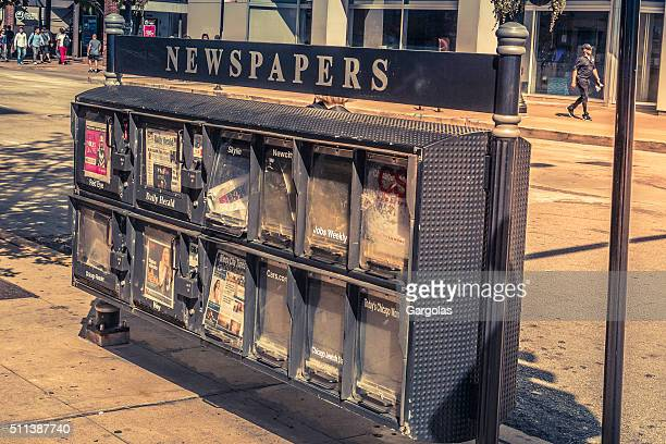 US Newspapers stand in Chicago, Illinois