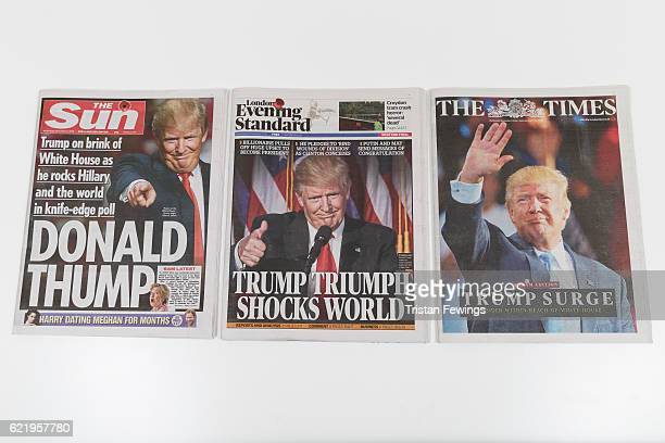 Newspapers The Sun, The Times and The Evening Standard feature Donald Trump's victory in the US Presidential elections on their front pages on...
