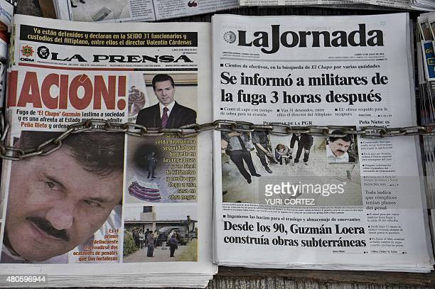 Newspapers with images of Mexican drug lord Joaquin El Chapo Guzman are displayed at a newsstand in one Mexico City's major bus terminals on July 13...