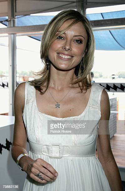 Newsreader Allison Langdon attends the David Jones marquee during the Schweppes Sydney Cup Day, the final day of the 4-day Easter Racing Carnival, at...