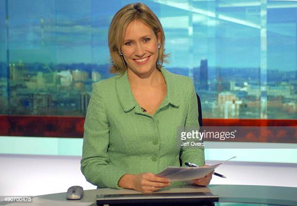 Newsreader and presenter Sophie Raworth on the set of the BBC One O'Clock News
