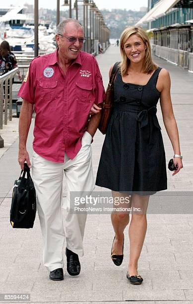 Newsreader Anna Coren is seen lunching at the Woolloomooloo Wharf with an unidentified male companion on November 7 2008 in Sydney Australia