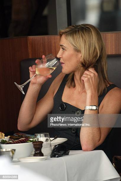 Newsreader Anna Coren is seen lunching with an undentified companion at the Woolloomooloo Wharf on November 7 2008 in Sydney Australia