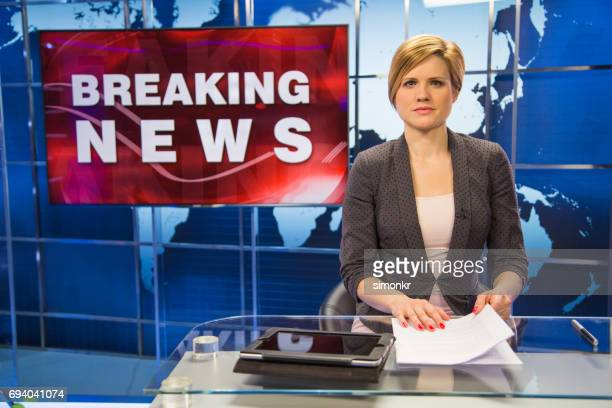 newsreader in television studio - breaking stock pictures, royalty-free photos & images