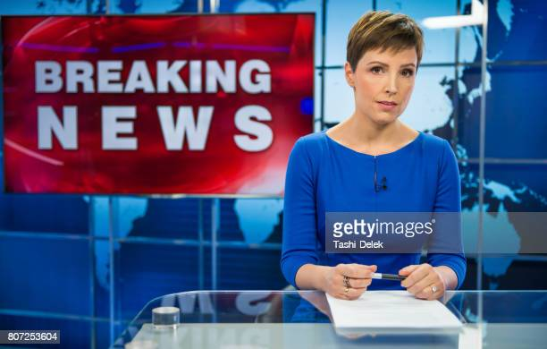 newsreader in television studio - journalist stock pictures, royalty-free photos & images