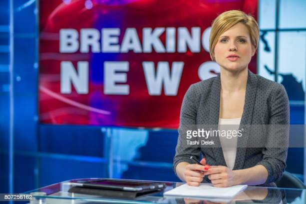 newsreader in television studio - broadcasting stock pictures, royalty-free photos & images