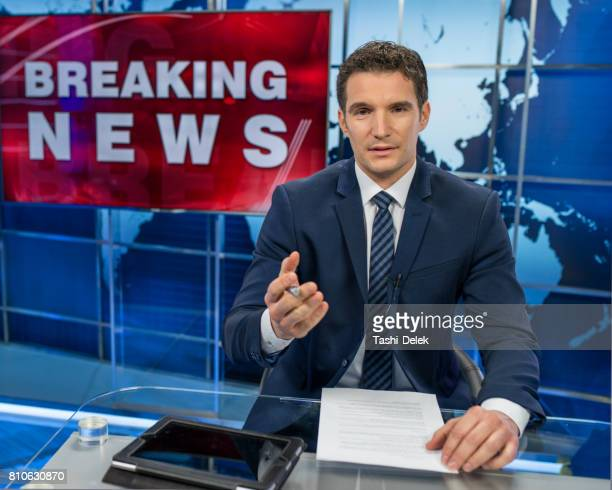 newsreader in television studio - commentator stock pictures, royalty-free photos & images