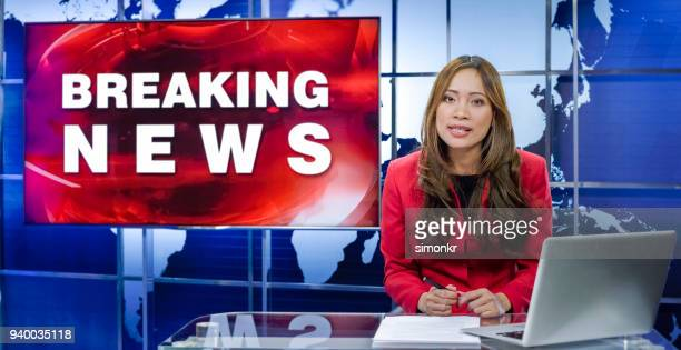 newsreader in television studio - press conference stock pictures, royalty-free photos & images