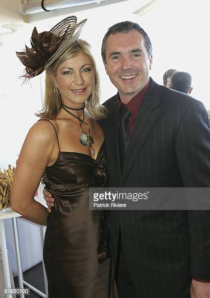 Newsreader Jennifer Hansen and actor Alan Fletcher attend the Melbourne Cup Carnival's Derby Day in the Myer marquee at Flemington October 30 2004 in...