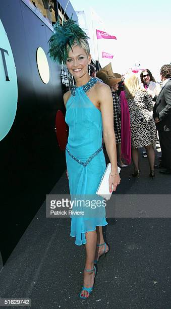 Newsreader Jessica Rowe attends the Melbourne Cup Carnival's Derby Day in the Moet et Chandon marquee at Flemington on October 30 2004 in Sydney...