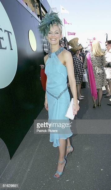 Newsreader Jessica Rowe attends the Melbourne Cup Carnival's Derby Day in the Moet et Chandon marquee at Flemington October 30 2004 in Sydney...