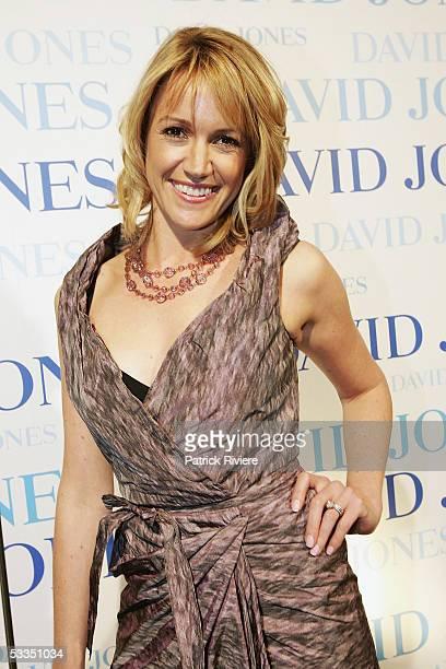 TV newsreader Leila McKinnon attends with fashion designer Jaydon Brunsdon the fashion parade for David Jones Summer 2005 Collection Launch at the W...