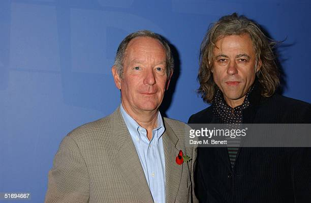 Newsreader Michael Buerk and musician Sir Bob Geldof arrive at the Premiere screening of the new fourdisc DVD featuring 10 hours of footage from the...