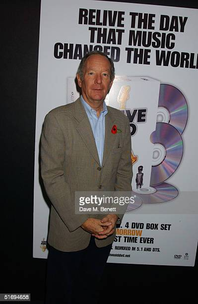 Newsreader Michael Buerk arrives at the Premiere screening of the new fourdisc DVD featuring 10 hours of footage from the historic charity concert...
