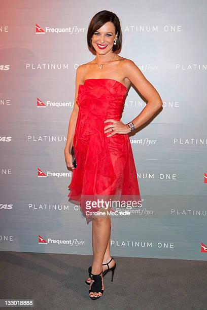 Newsreader Natarsha Belling attends a dinner at BLUE Sydney celebrating Qantas' 91st Birthday and the launch of 'Platinum One' a new frequent flyer...