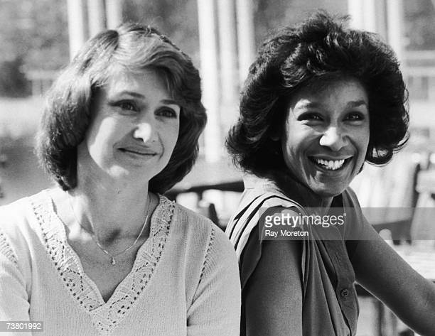 BBC newsreaders Jan Leeming and Moira Stuart outside the BBC Television Centre London 27th August 1981 Stuart is about to begin her TV newsreading...