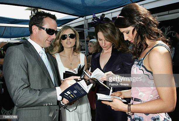 TV newsreaders Mike Willesee Allison Langdon TV personality Kellie Connolly and former swimmer Giaan Rooney attend the David Jones marquee during the...