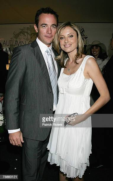 Newsreaders Mike Willesee and Allison Langdon attend the David Jones marquee during the Schweppes Sydney Cup Day, the final day of the 4-day Easter...
