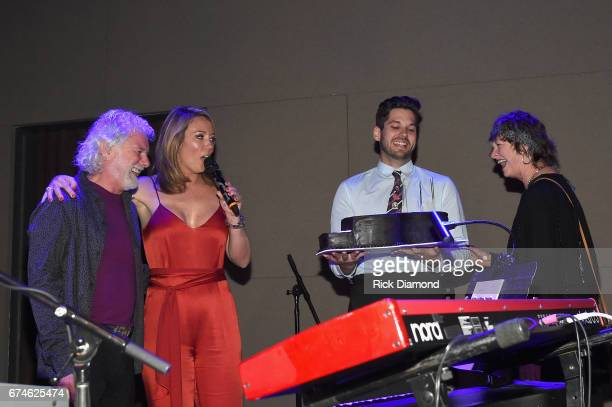 Newsroom Anchor Brooke Baldwin and Rose Lane White Leavell sing Happy Birthday for Rolling Stones pianist and musical director Chuck Leavell during...