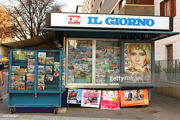 newsstand in milan, italy - magazine rack stock photos and pictures