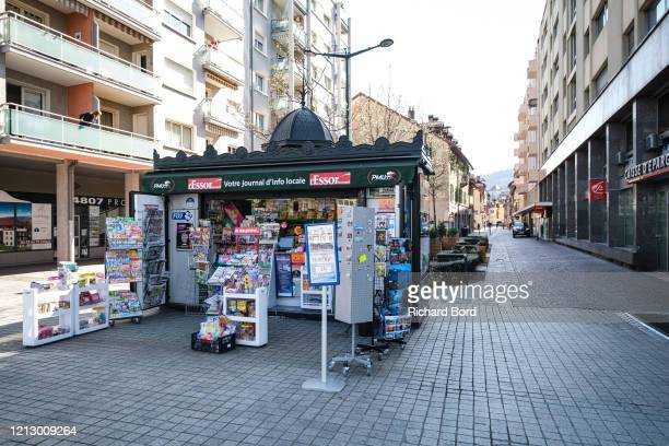 Newsstand is open close to the 'Courier' shopping mall on March 17, 2020 in Annecy, France. Coronavirus has spread to over 156 countries in a matter...