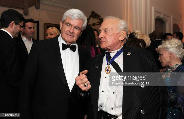 Newt Gingrich and Buzz Aldrin attend the Bloomberg Vanity Fair cocktail reception following the 2011 White House Correspondents' Association Dinner...