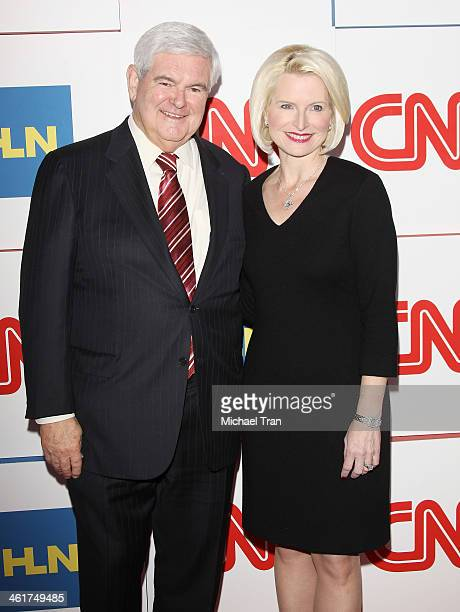 Newt Gingrich and Callista Gingrich arrive at the CNN Worldwide AllStar 2014 Winter TCA party held at Langham Huntington Hotel on January 10 2014 in...