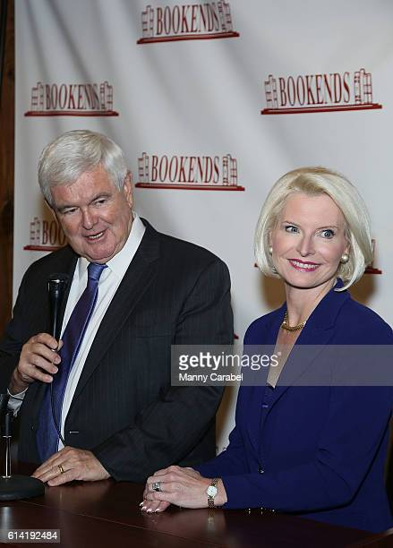Newt Gingrich and Callista Gingrich sign copies of their book 'Treason & Hail To The Chief at Bookends Bookstore on October 12, 2016 in Ridgewood,...