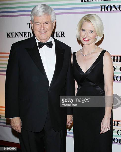 Newt Gingrich and wife Callista Gingrich arrive at the 34th Kennedy Center Honors held at the Kennedy Center Hall of States on December 4 2011 in...