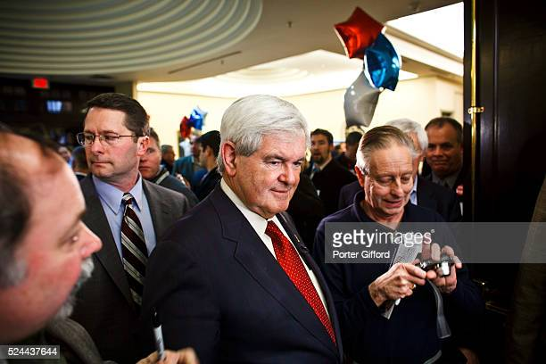 Newt Gingrich arrives at Hillsborough County Republican Gala during the runup to the NH Primary in Nashua New Hampshire January 6 2012