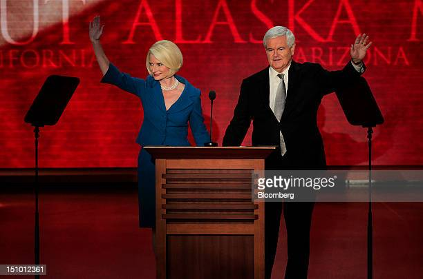 Newt Gingrich former US Speaker of the House right and wife Callista Gingrich wave before speaking at the Republican National Convention in Tampa...