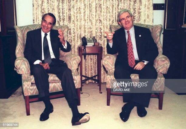 Newt Gingrich incoming Speaker of the US House of Representatives meets with Senate Majority leader Bob Dole RKS on Capitol Hill 03 January The 104th...