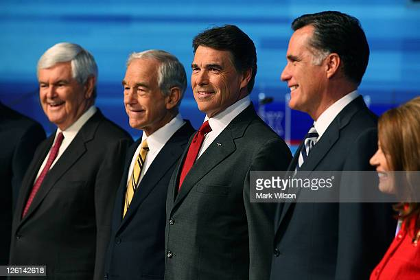 Newt Gingrich Rep Ron Paul Texas Gov Rick Perry former Massachusetts Gov Mitt Romney and Rep Michele Bachmann participate in the Fox News/Google GOP...