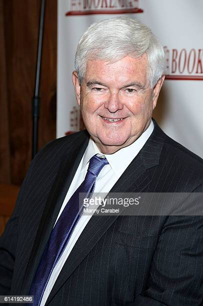 """Newt Gingrich signs copies of the book """"Treason & Hail To The Chief"""" at Bookends Bookstore on October 12, 2016 in Ridgewood, New Jersey."""
