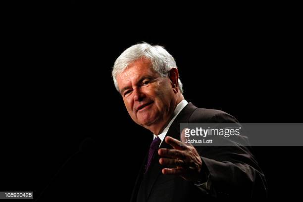 Newt Gingrich speaks during his Jobs Here Jobs Now tour on October 21 2010 in Phoenix Arizona The former Speaker of the US House of Representatives...
