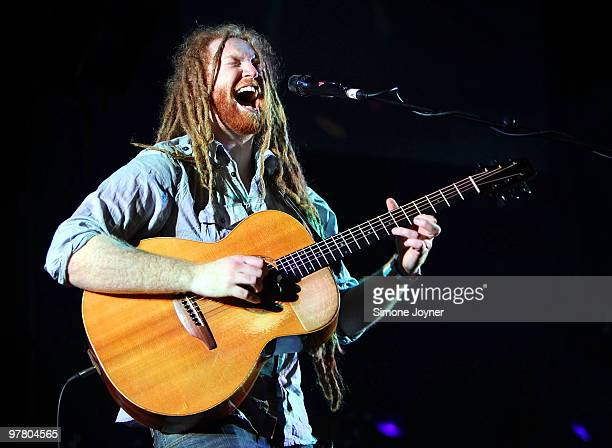 Newton Faulkner performs live on stage at Hammersmith Apollo on March 17 2010 in London England