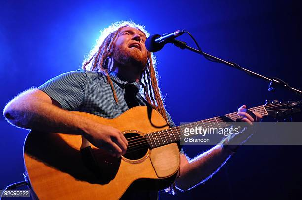 Newton Faulkner performs on stage at Shepherds Bush Empire on October 20 2009 in London England