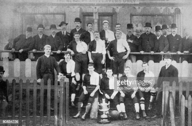 Newton Heath Football Team, winners of the Manchester Cup in 1890, during their first season in the Football Alliance. Players included, back row:...