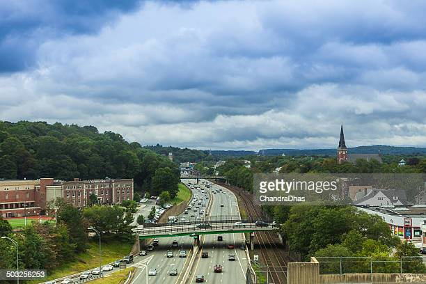 Newton MA, USA - Massachusetts Turnpike