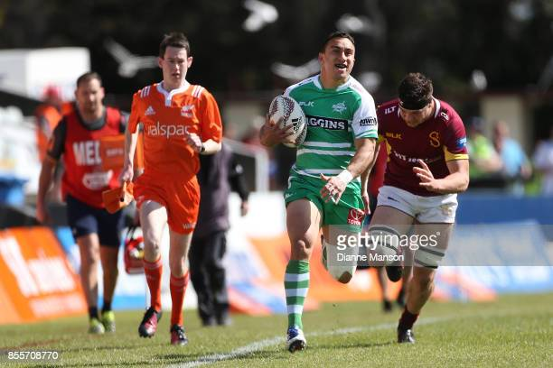Newton Tudreu of Manawatu makes a break during the round seven Mitre 10 Cup match between Southland and Manawatu on September 30 2017 in Invercargill...