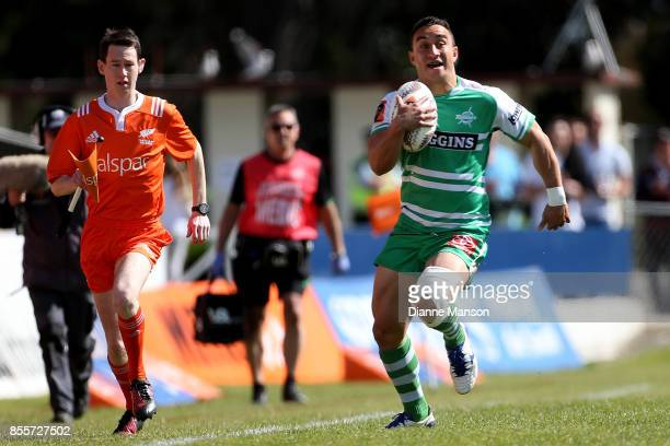 Newton Tudreu of Manawatu makes a break during the round seven Mitre 10 Cup match between Southland and Manawatu on September 30, 2017 in...