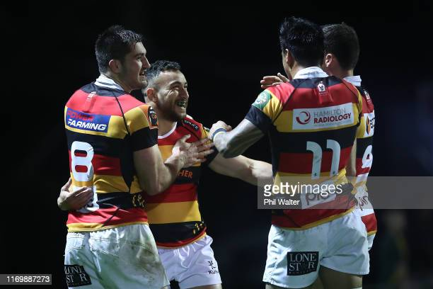 Newton Tudreu of Waikato celebrates his try during the round 3 Mitre 10 Cup match between Counties Manukau and Waikato at Navigation Homes Stadium on...